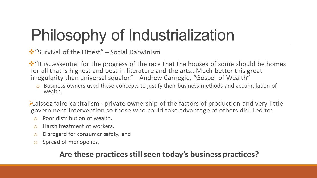 Philosophy of Industrialization
