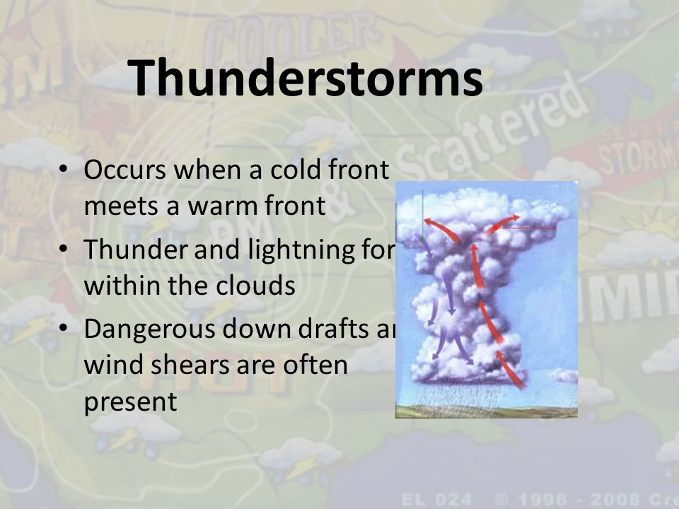 Thunderstorms Occurs when a cold front meets a warm front