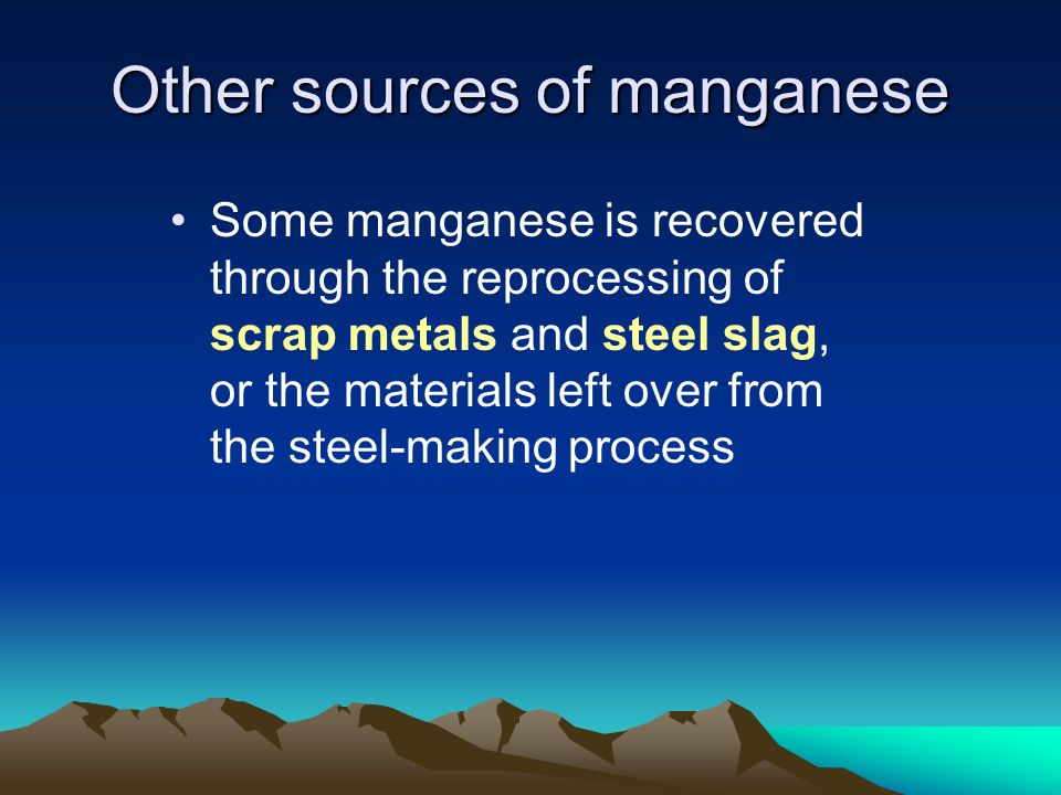 Other sources of manganese