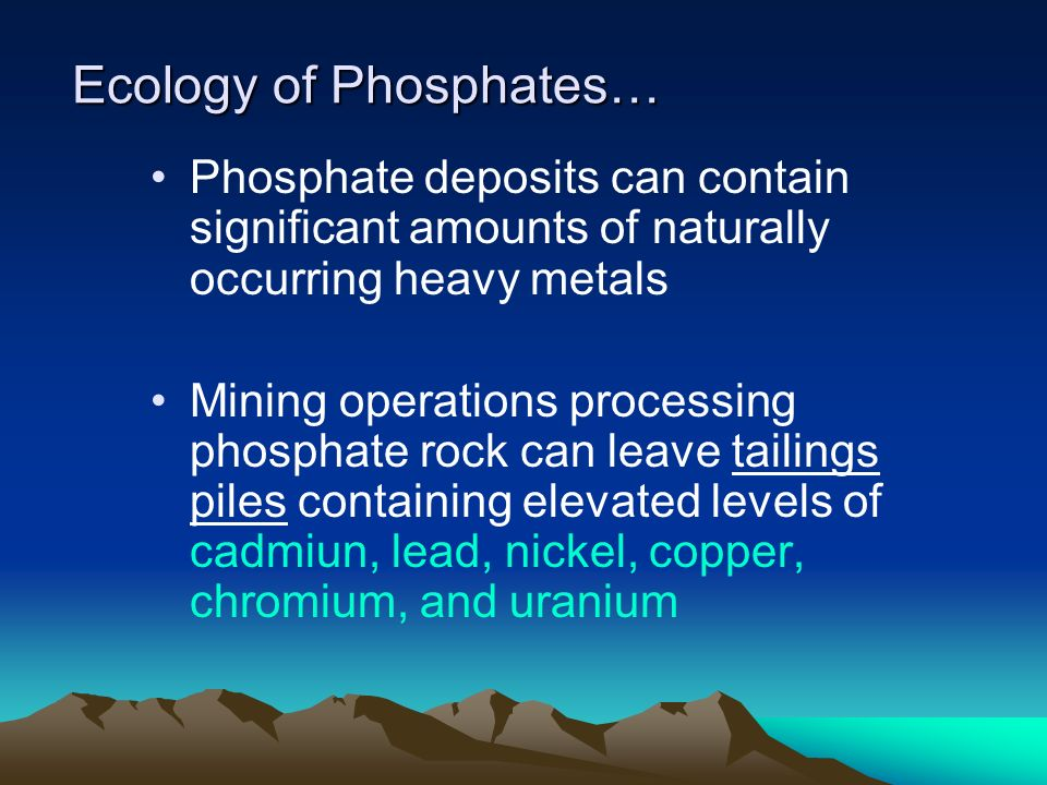Ecology of Phosphates…