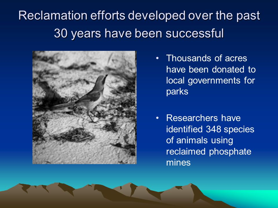 Reclamation efforts developed over the past 30 years have been successful