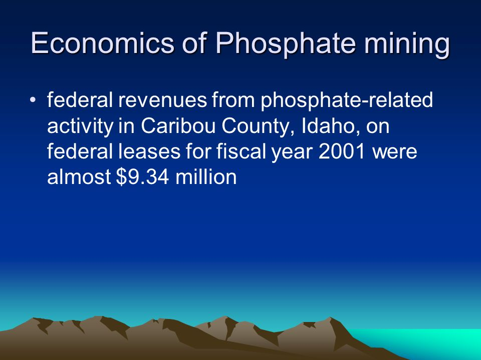 Economics of Phosphate mining