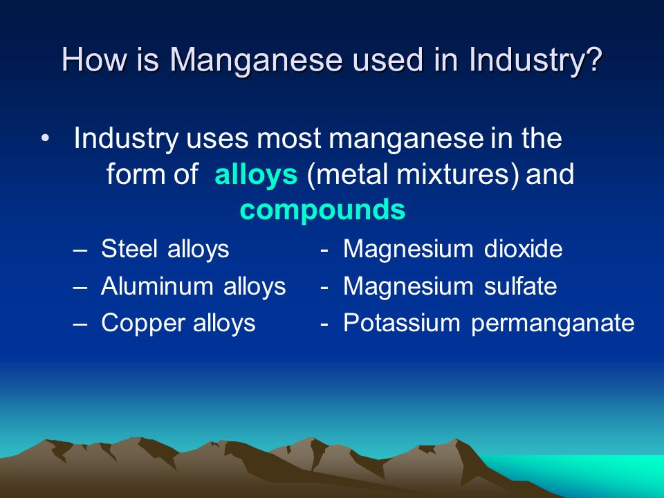 How is Manganese used in Industry