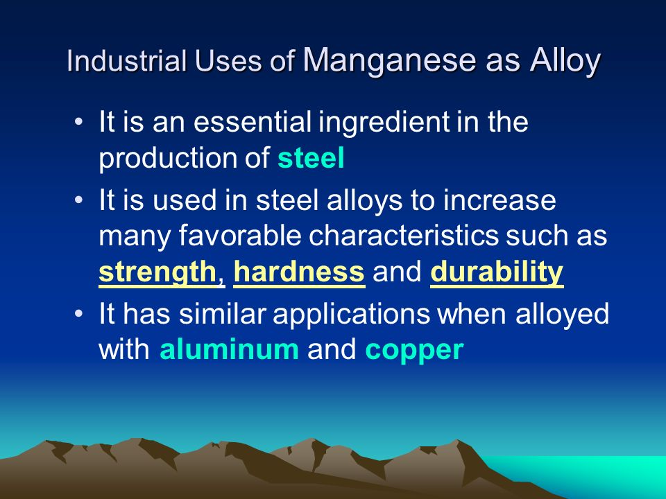 Industrial Uses of Manganese as Alloy
