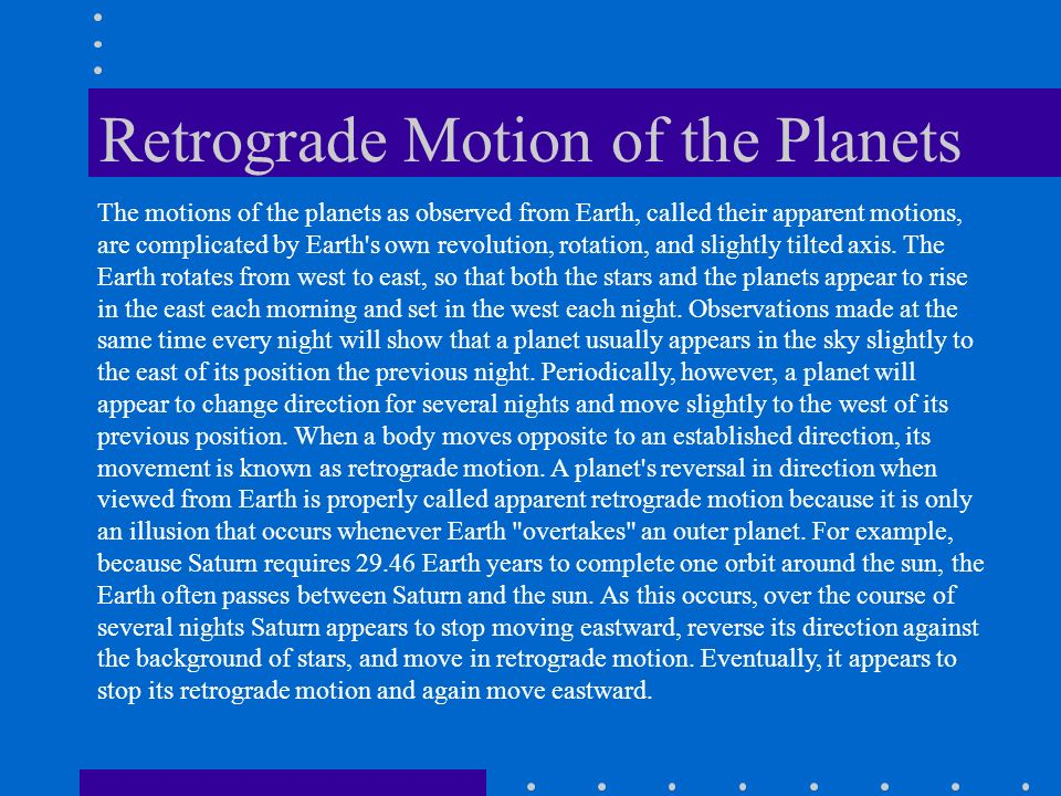 Retrograde Motion of the Planets