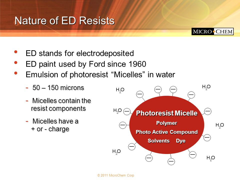 Nature of ED Resists ED stands for electrodeposited