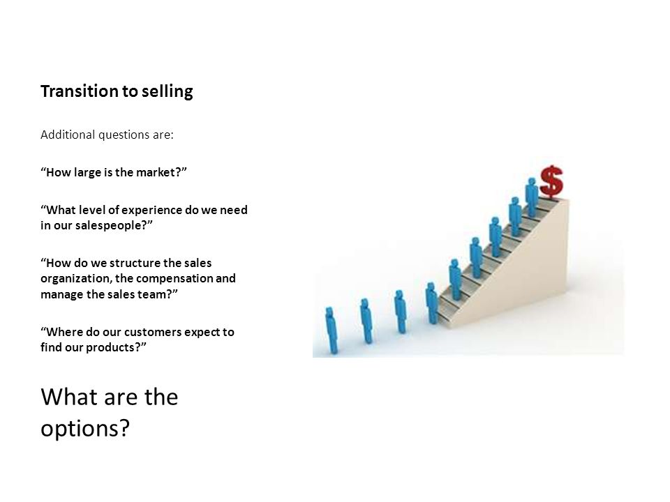 What are the options Transition to selling Additional questions are: