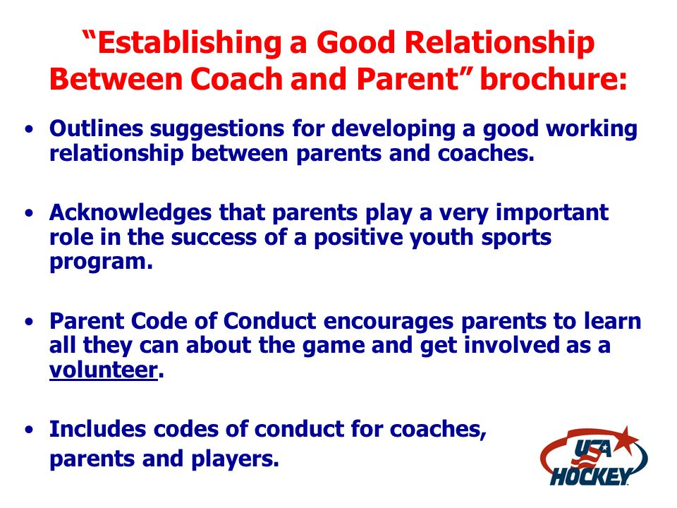 Establishing a Good Relationship Between Coach and Parent brochure: