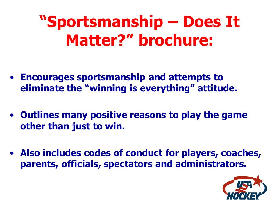 Sportsmanship – Does It Matter brochure: