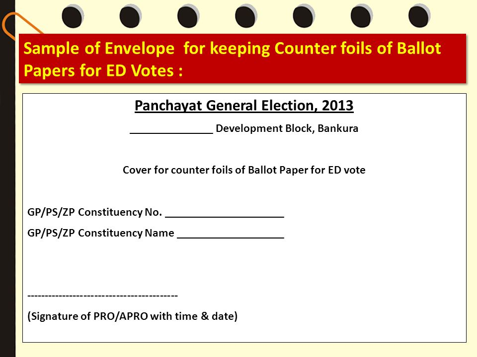 Sample of Envelope for keeping Counter foils of Ballot Papers for ED Votes :
