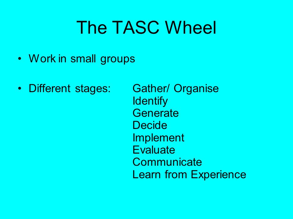 The TASC Wheel Work in small groups