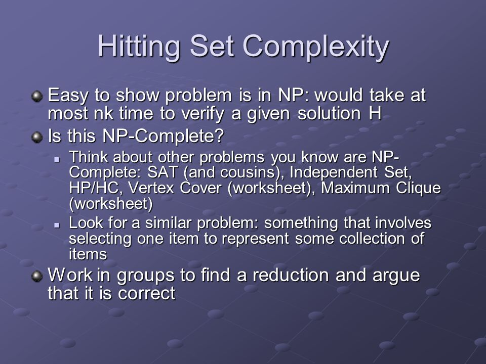 Hitting Set Complexity