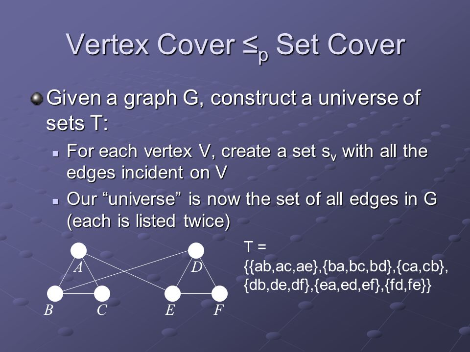 Vertex Cover ≤p Set Cover