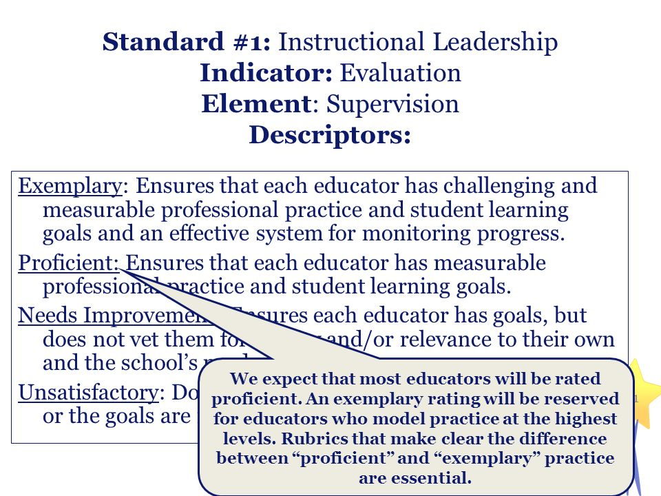 Standard #1: Instructional Leadership Indicator: Evaluation Element: Supervision Descriptors: