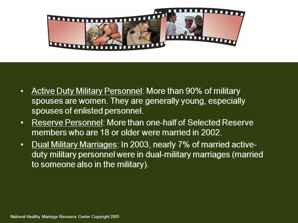 Active Duty Military Personnel: More than 90% of military spouses are women. They are generally young, especially spouses of enlisted personnel.