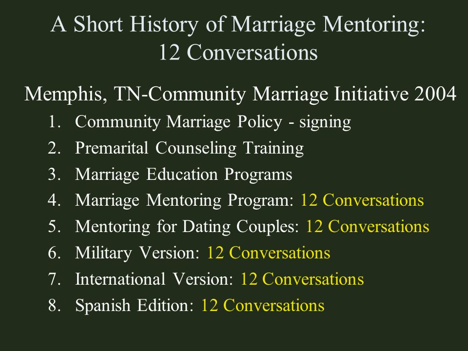 A Short History of Marriage Mentoring: 12 Conversations