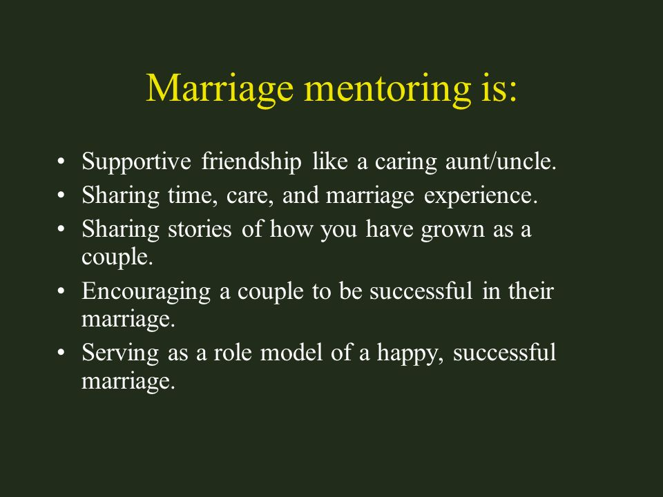Marriage mentoring is: