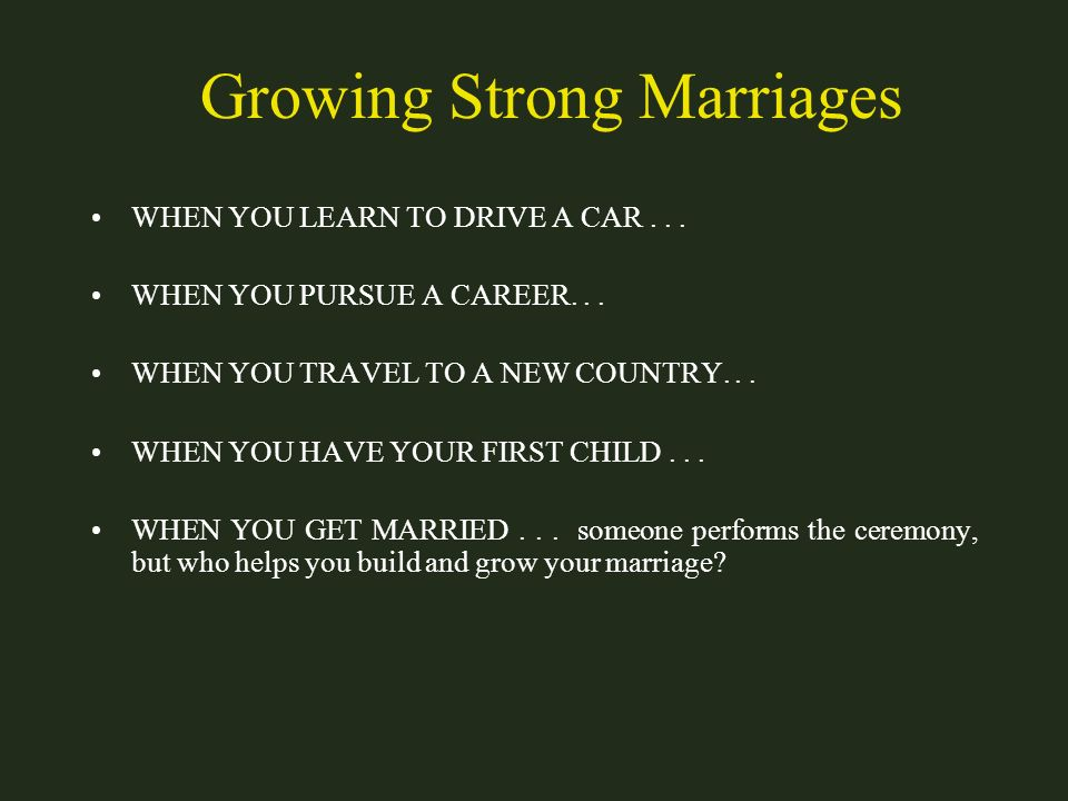 Growing Strong Marriages