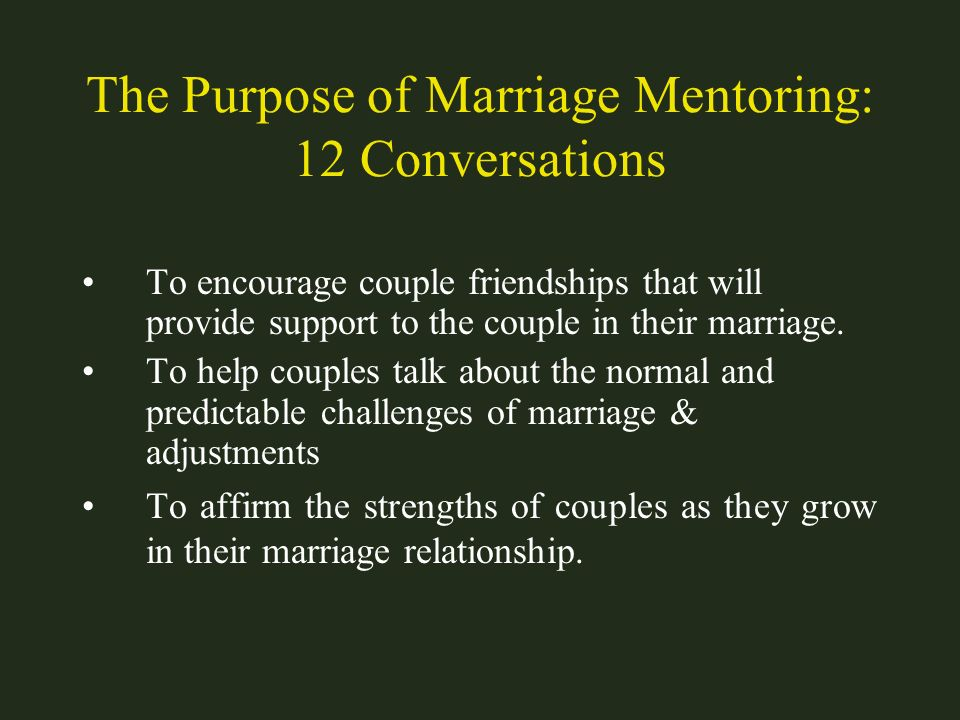 The Purpose of Marriage Mentoring: 12 Conversations
