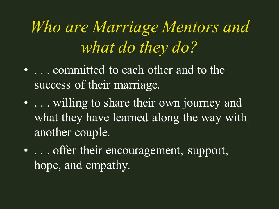 Who are Marriage Mentors and what do they do