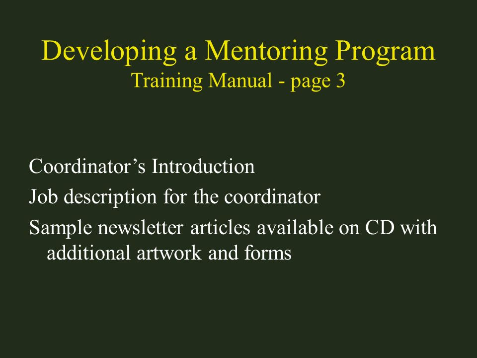 Developing a Mentoring Program Training Manual - page 3