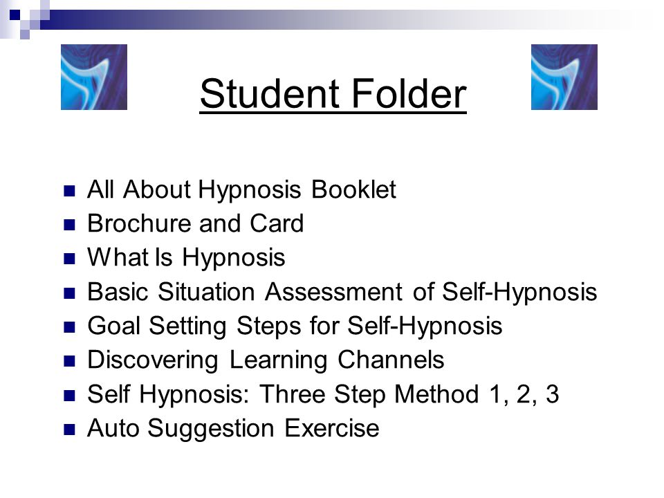 Student Folder All About Hypnosis Booklet Brochure and Card