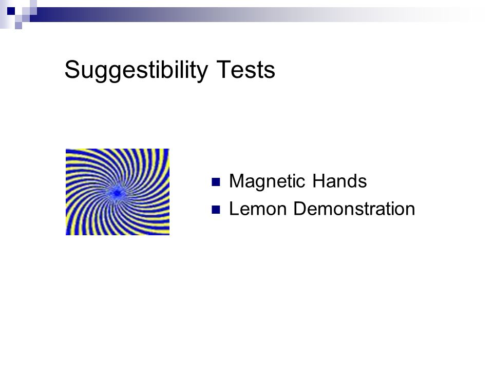 Suggestibility Tests Magnetic Hands Lemon Demonstration