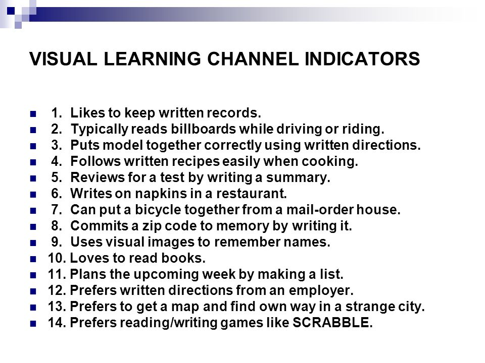 VISUAL LEARNING CHANNEL INDICATORS