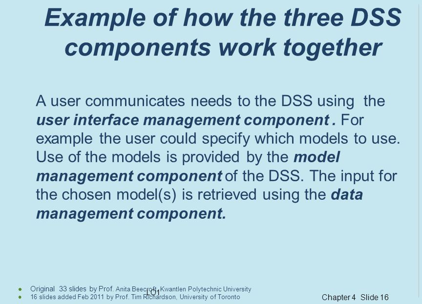 Example of how the three DSS components work together