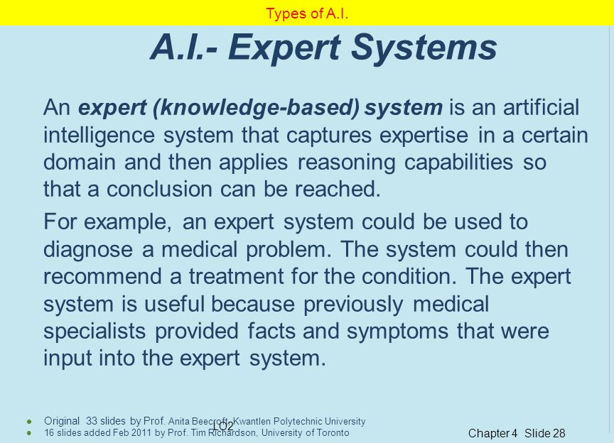 Types of A.I. A.I.- Expert Systems.