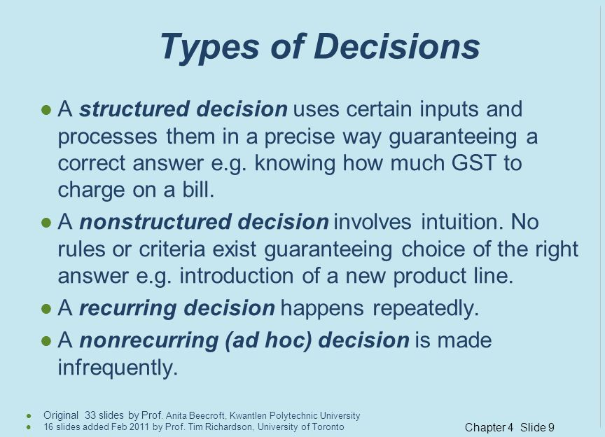 Types of Decisions