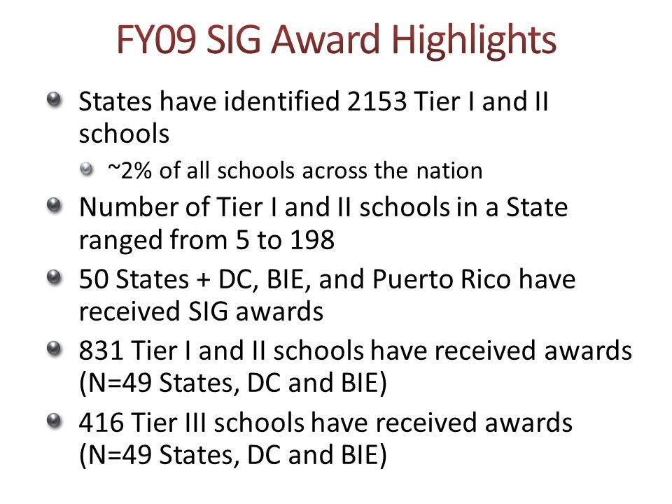 FY09 SIG Award Highlights