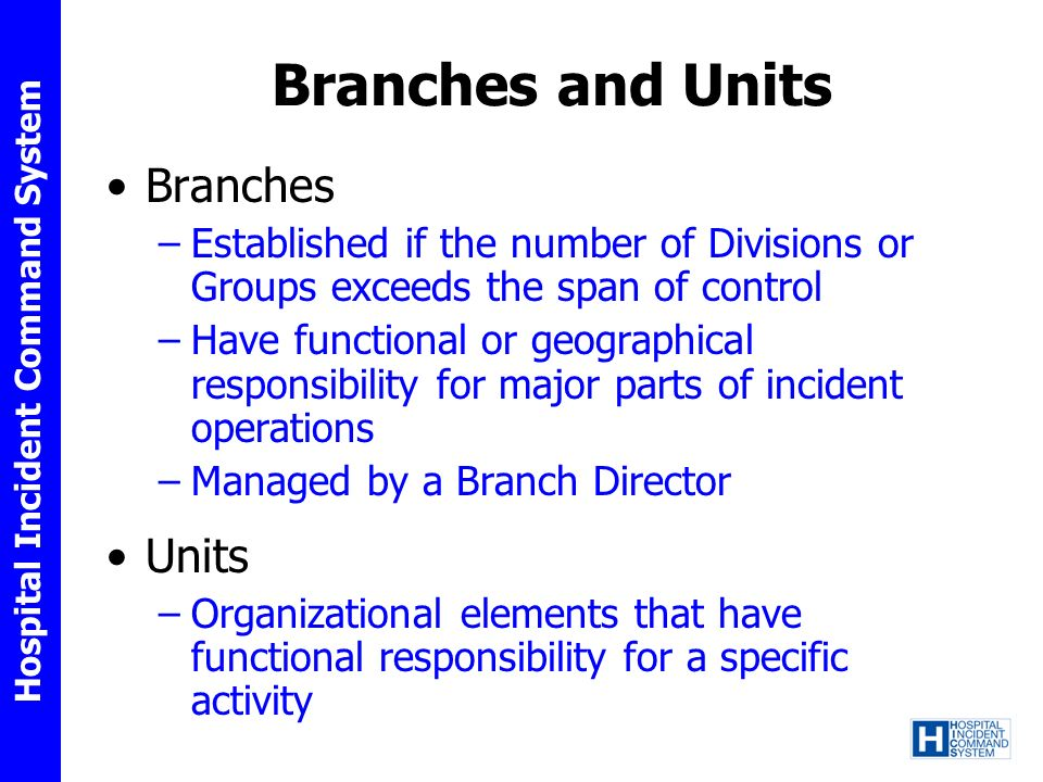 Branches and Units Branches Units