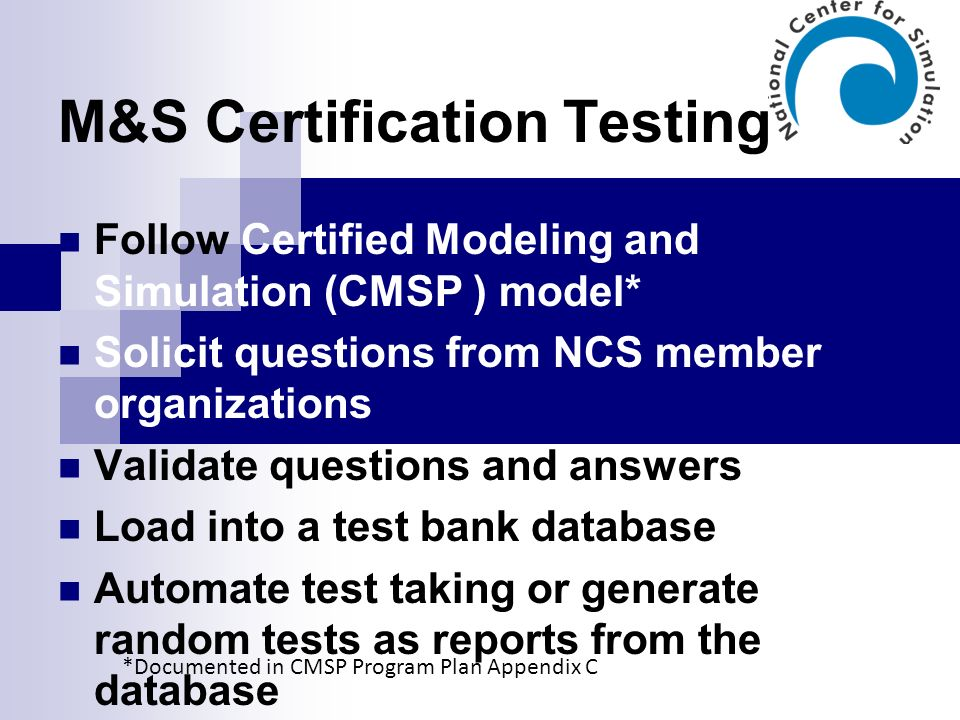 M&S Certification Testing