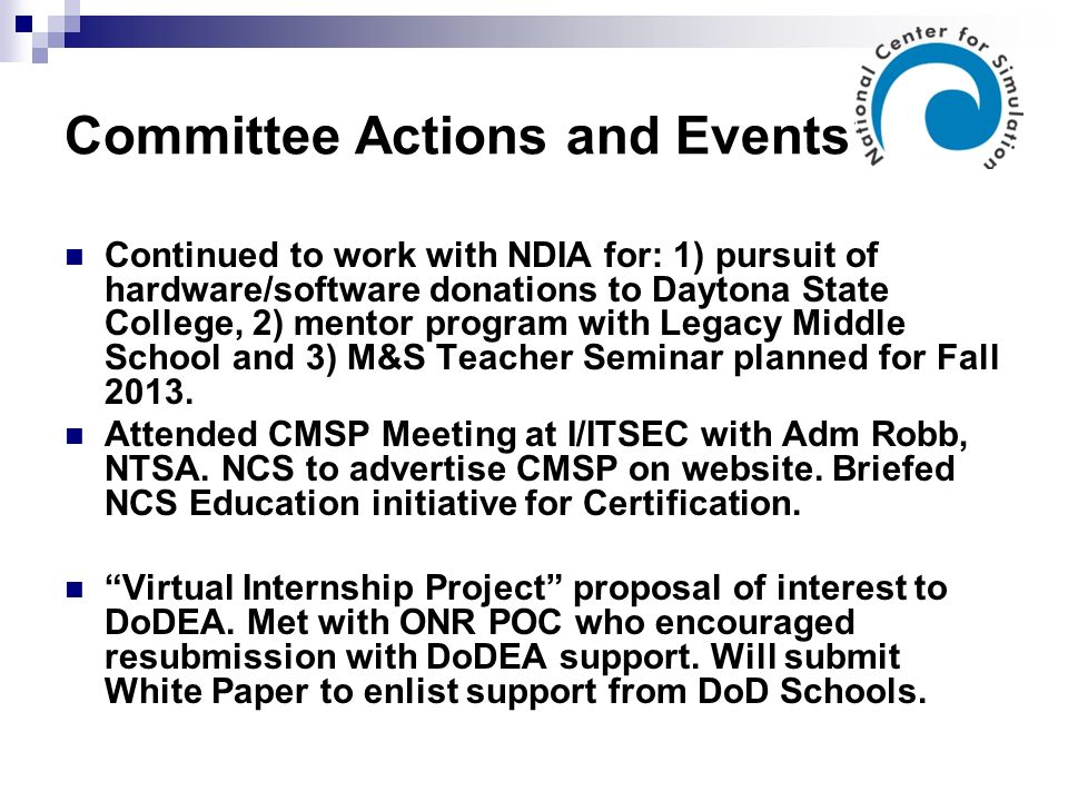 Committee Actions and Events