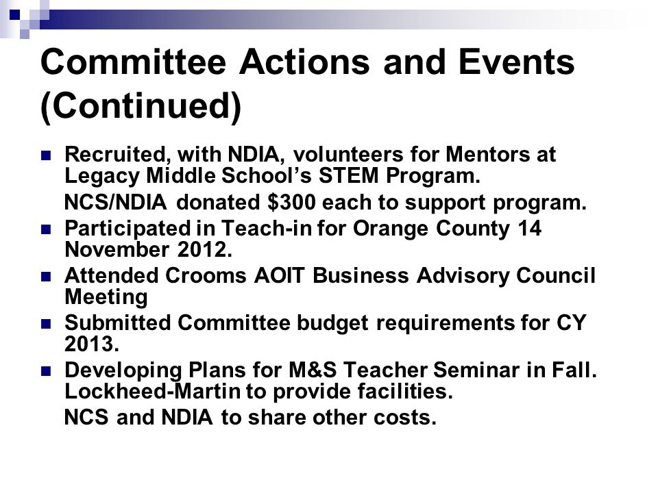 Committee Actions and Events (Continued)