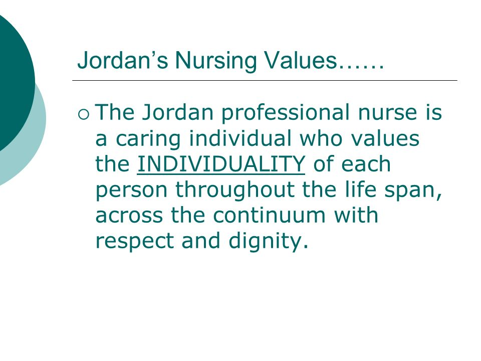 Jordan's Nursing Values……
