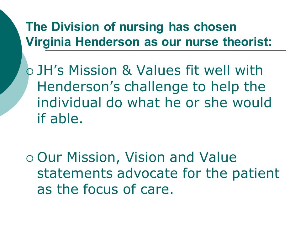 The Division of nursing has chosen Virginia Henderson as our nurse theorist: