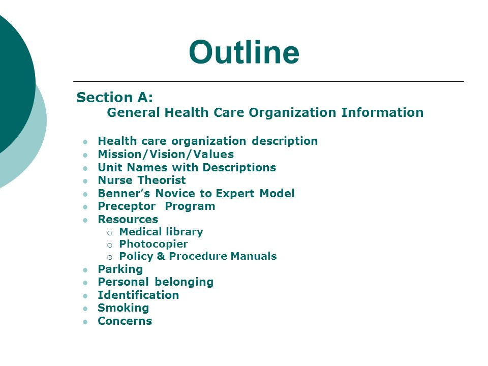 Outline Section A: General Health Care Organization Information