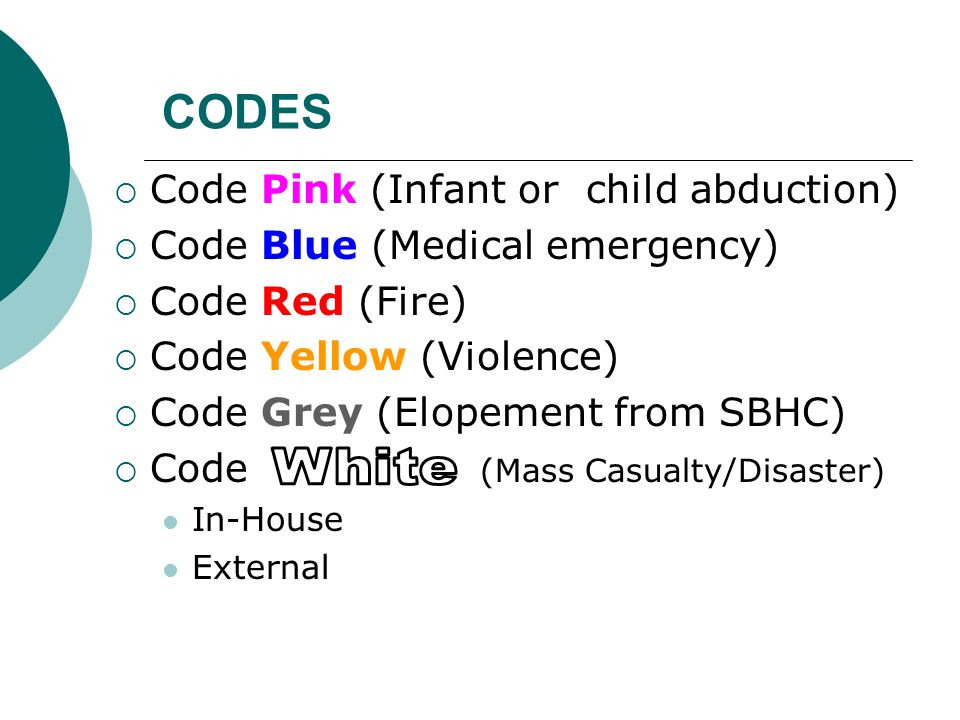 CODES White Code Pink (Infant or child abduction)