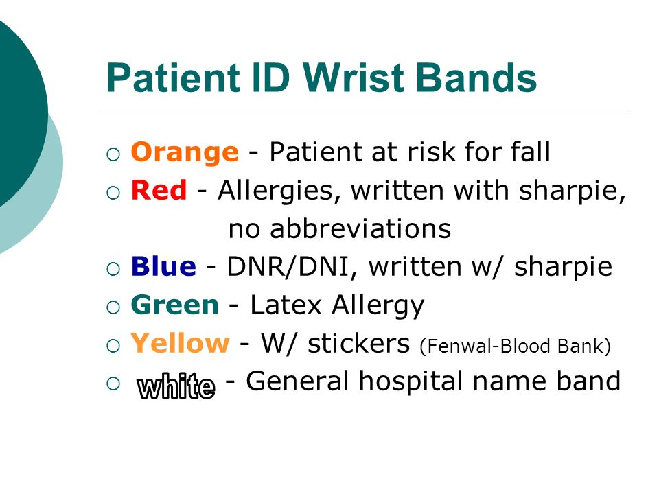 Patient ID Wrist Bands white Orange - Patient at risk for fall