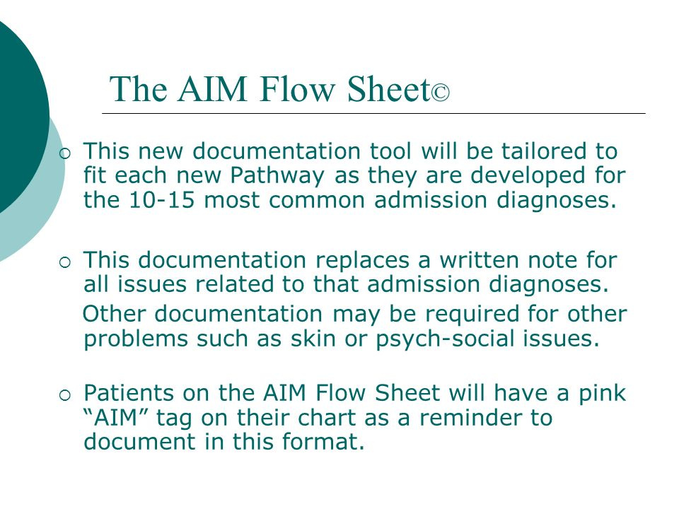 The AIM Flow Sheet©