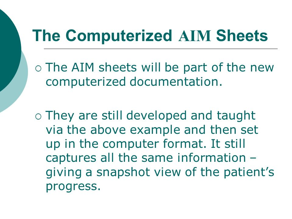 The Computerized AIM Sheets