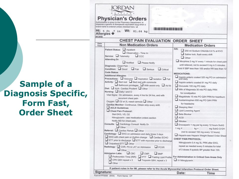 Sample of a Diagnosis Specific, Form Fast, Order Sheet