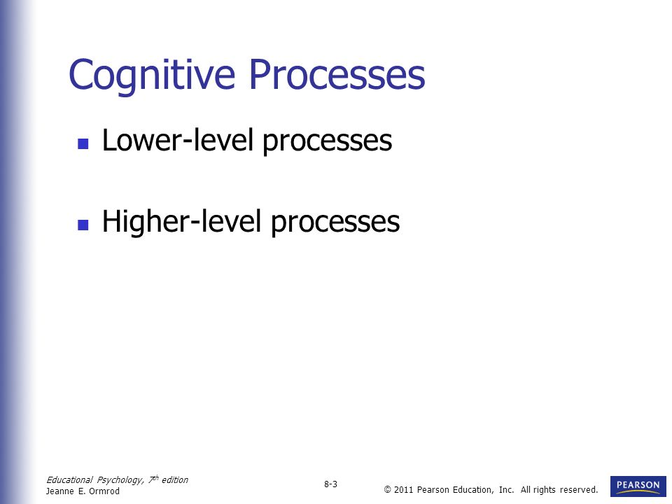 Cognitive Processes Lower-level processes Higher-level processes