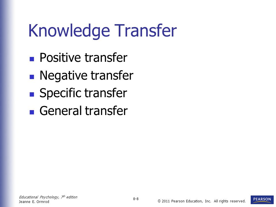 Knowledge Transfer Positive transfer Negative transfer