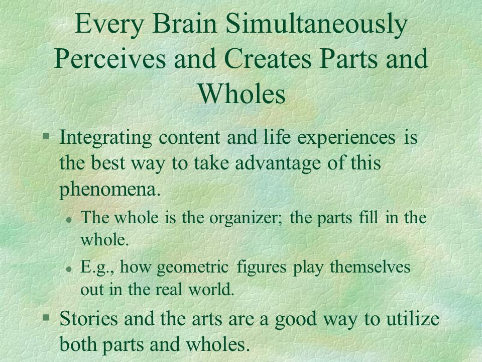 Every Brain Simultaneously Perceives and Creates Parts and Wholes