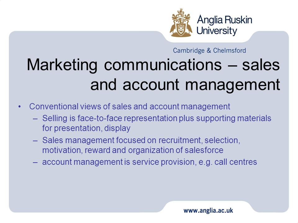 Marketing communications – sales and account management