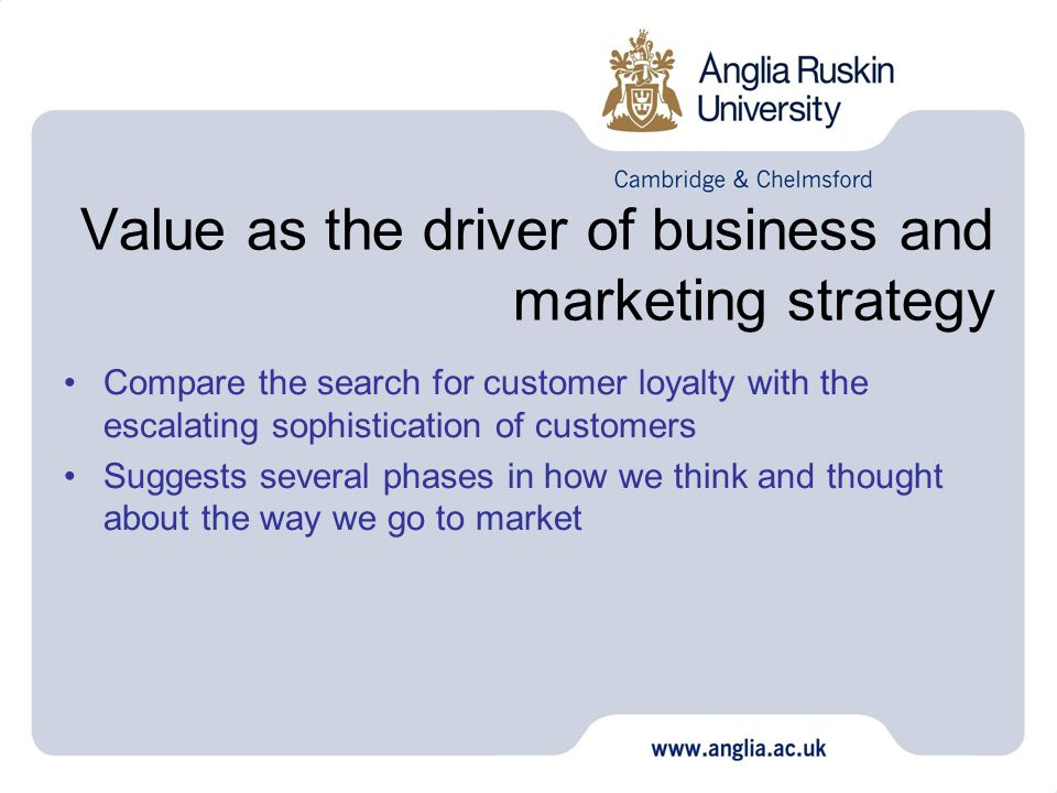 Value as the driver of business and marketing strategy