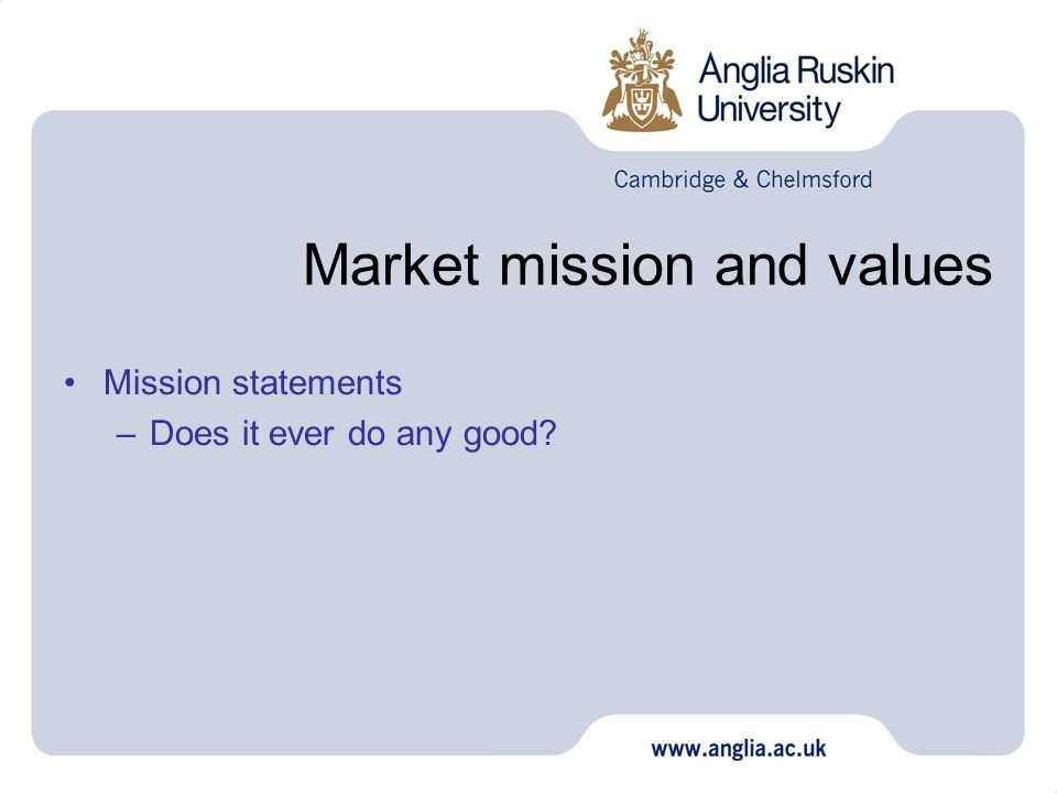 Market mission and values